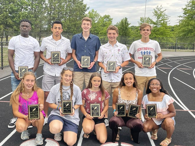 The Gardner High track and field program's award winners visited Watkins Field one last time this season during Monday evening's annual end-of-the-season banquet. Front row (left to right): Kaylee Bettez, Becca Cormier, Krista Bettez, Savannah Pineda and Damali Waugh. Back row: Ernest Nyarko, Fredy Peralta, Alex Lucier, Jack McDermott and Noah Johnson.