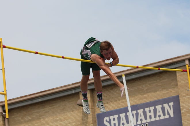 Malakai Schaad, a junior at Geneseo High School, placed second in the pole vault at the IHSA State Track Meet held June 18 at Charleston. He is shown clearing 16 feet, which broke his own school record set earlier this season.