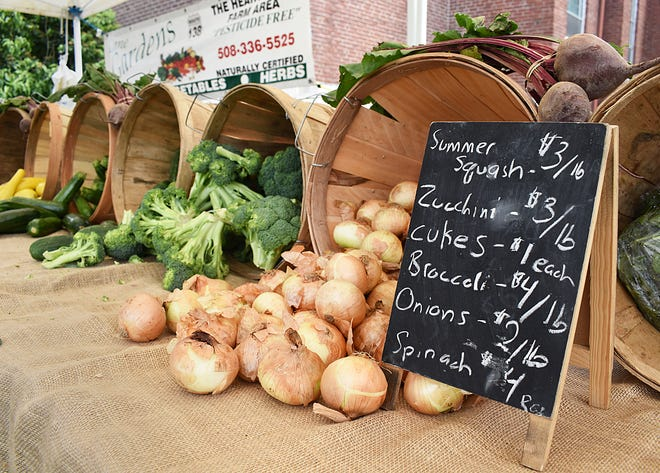 This is a sampling of the produce that was for sale at the farmers market at Saint Anne's Hospital recently.