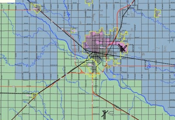 This cropped map shows the existing county commission boundaries around and including the city of Hutchinson.