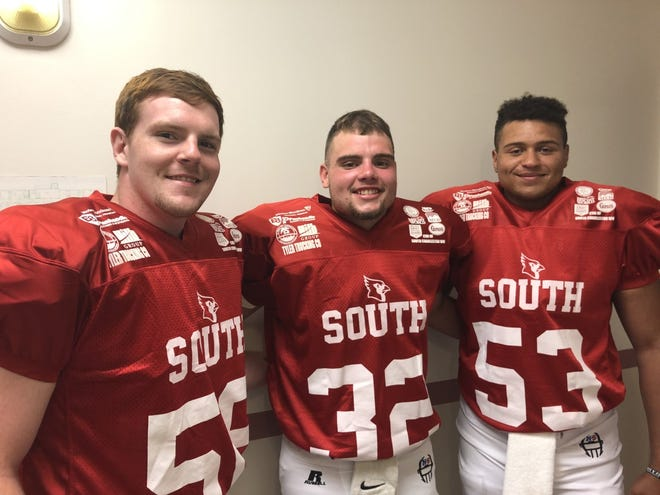 Ripley High football standouts Matt Moore, Kadin Hall and Quinton Joyner played one final game together last Saturday as members of the South Cardinals in the WCHS-TV/FOX 11 North-South All-Star Football Classic. Moore is headed to UC, Hall is bound for West Virginia State University and Joyner will be joining the Army National Guard.