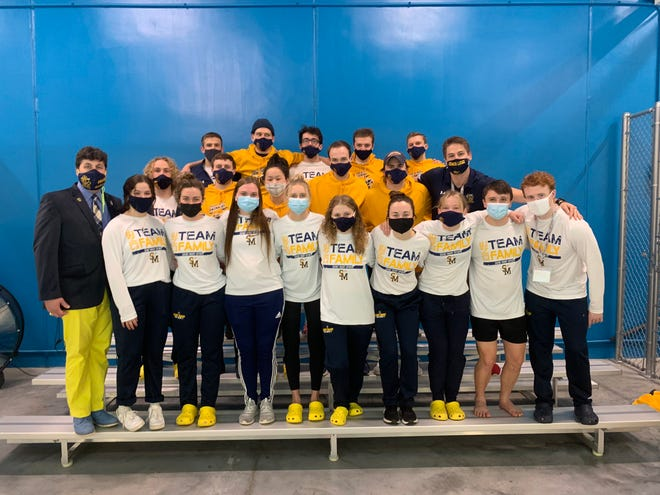 Shown are the University of Saint Mary men's and women's swimming teams.