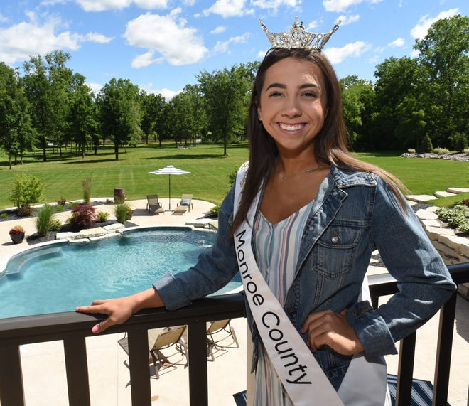 Miss Monroe County 2019 Madalyn Poupard stands on the balcony at her home in Monroe. She was named first runner-up in the 2021 Miss Michigan scholarship program.