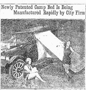 A photo published June 26, 1921, in The Daily Oklahoman shows two women posing next to a Van Auto Camp bed, promoted as a popular auto accessory that included a tent, bed and table.