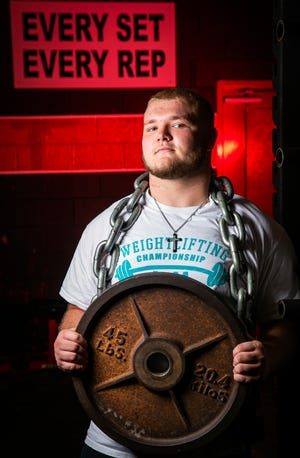 Dunnellon's Colby Smith is this year's Ocala Star-Banner Boys Weightlifter of the Year. Smith lifted 390 on the bench press and 340 in the clean and jerk for a 730-pound total to win the state championship in the unlimited weight class.