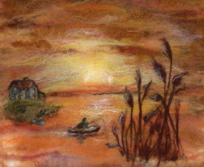 """Sunset Cove"" wool fiber art by Christine Blomquist"