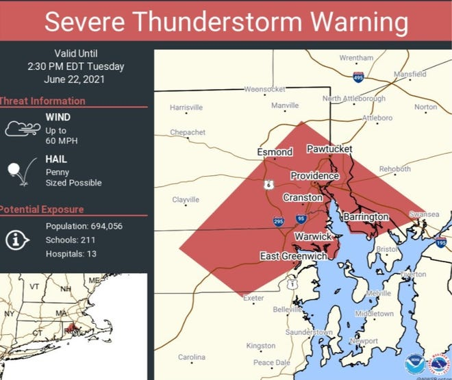 The National Weather Service has issued a severe thunderstorm warning.