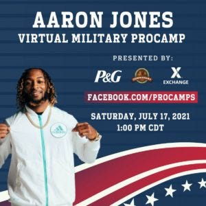 A flyer promotes the Virtual Military Youth Football Camp featuring Green Bay Packers running back Aaron Jones that will be hosted by the Fort Leonard Wood Commissary July 17. Courtesy photo