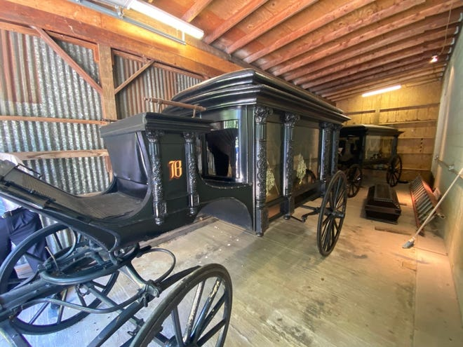 This horse-drawn hearse, owned by the Billow Funeral Home since its founding, will carry local historian Roger DiPaolo to his final resting place.