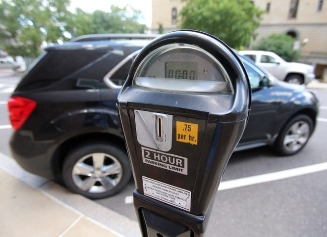 A parking meter is shown in Canton.