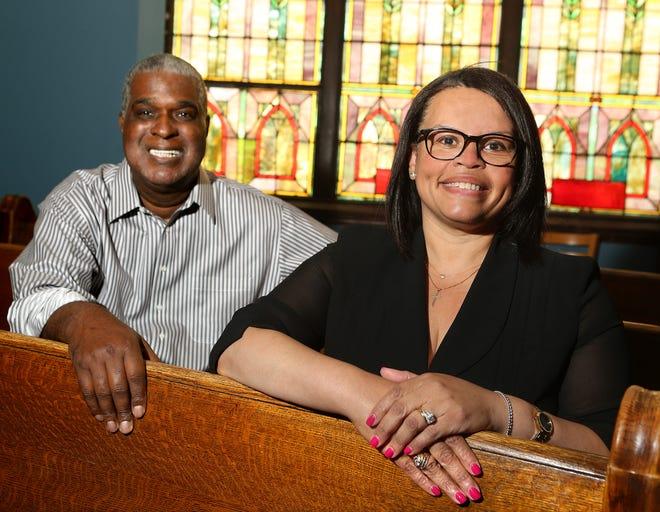 Tonya Hamilton and Shiloh Baptist Church Senior Pastor Charles E. Prince at Shiloh Baptist Church in Canton.