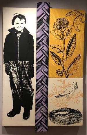 """Goshen artist Abner Hershberger created this 1997 acrylic screenprint, """"Boy with Milkweed Pod,"""" to represent himself as a boy who'd harvested mildweed to make life vests during World War II. It's on display at the Midwestern Museum of American Art in Elkhart through July 25."""