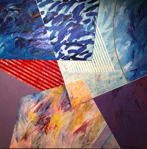 """Goshen artist Abner Hershberger made this 2000 acrylic painting, """"Planar Ritual,"""" now on display at the Midwestern Museum of American Art in Elkhart through July 25."""