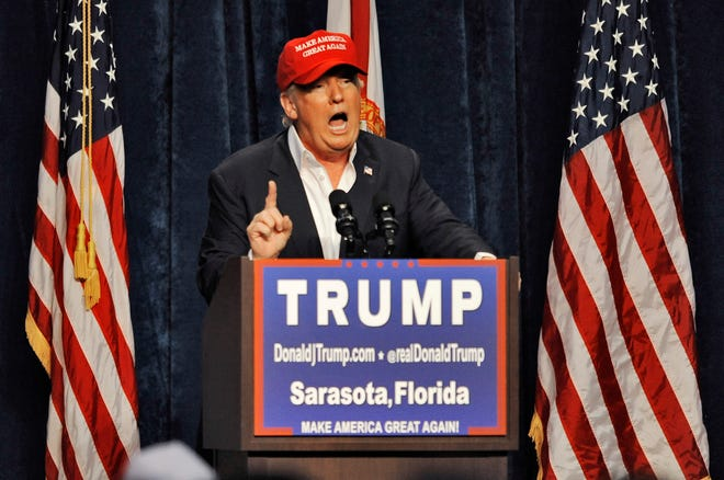 Donald Trump, then a GOP presidential candidate, speaks to supporters at a campaign rally Nov. 28, 2015, at Robarts Arena, in Sarasota.