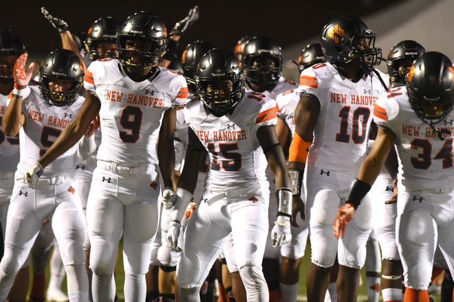 New Hanover comes out on the field as they took on Wallace-Rose Hill in the 2018 BB&T Football Jamboree. The 2021 Jamboree was canceled Tuesday due to COVID-19.