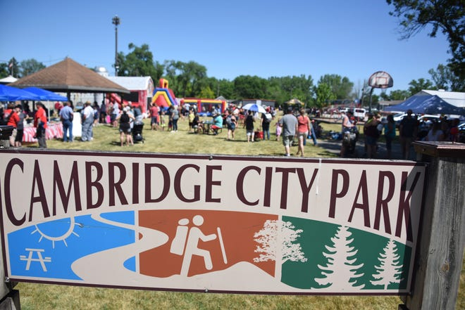 A celebration followed the parade with food, games and inflatables in the park.