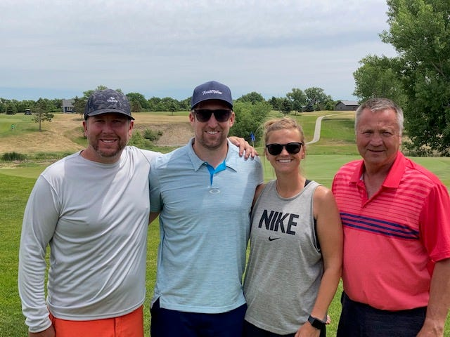 First-flight winners in the 14th Castlewood Education Foundation Golf Tournament on Saturday at the Castlewood Golf Course included, from left, Jeremy Boniface, Brett Denman, Kali Denman and Todd Gottsleben.