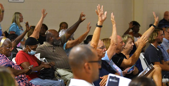 A community discussion was held June 21 in the gymnasium at Cuyler Park Community Center in Mims, regarding the use of fluoride in the community's drinking water. Speakers from both sides of the issue made presentations.