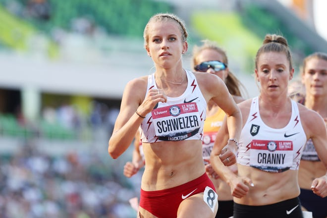 Former Missouri star Karissa Schweizer, front, competes in the women's 5,000-meter final during the 2020 U.S. Olympic Track & Field Team Trials at Hayward Field in Eugene, Oregon.