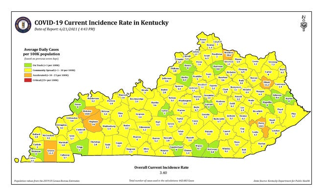 The COVID-19 current incidence rate map for Kentucky as of Monday, June 21.
