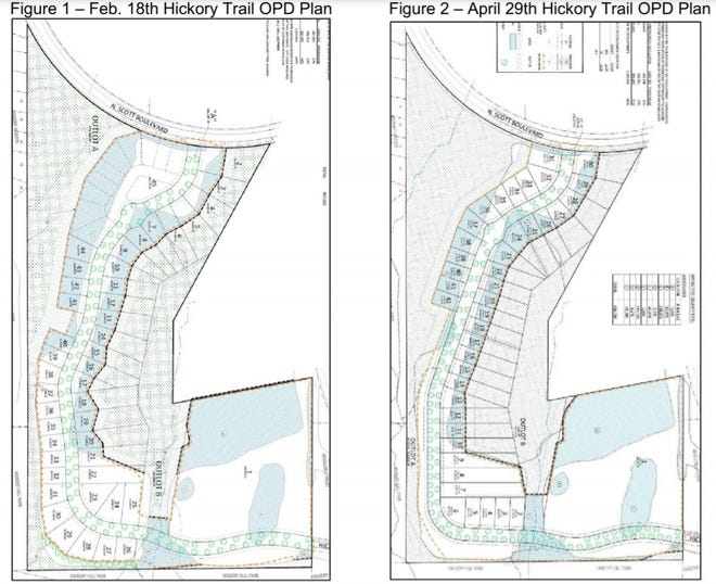 The two images are different versions of a plan for a housing development project northeast of Hickory Hill Park. Figure 2 is the version the Iowa City Council approved a first consideration of at its June 15, 2021 meeting by a vote of 6-1.