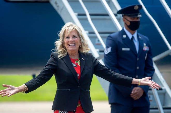 """First Lady Jill Biden, seen here on a visit to Mississippi on June 22, is scheduled to visit Portsmouth on Saturday, as part of the White House's """"America's Back Together"""" tour."""