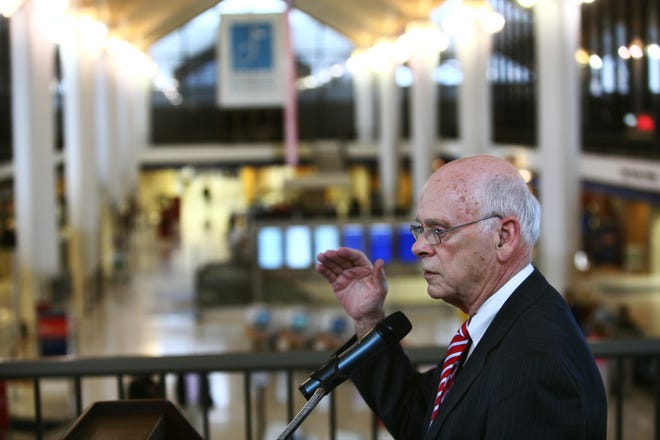 March 22, 2013 - George Cates, committee chairman of the Mid-South Regional Air Service Task Force, address some of the issues the task force will deal with at their first meeting at Memphis International Airport.