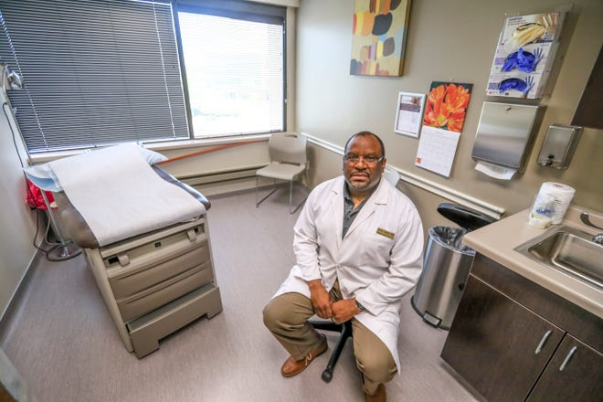 """Dr. Kevin Izard addresses COVID-19 vaccine misconceptions Friday, June 18, 2021, at Paladina Health at 23833 Stone Ridge Drive in Waukesha. """"I look at this as my mission in life, there aren't many black doctors in Milwaukee,"""" he said. """"I try and do my part and make sure people are getting good information."""""""