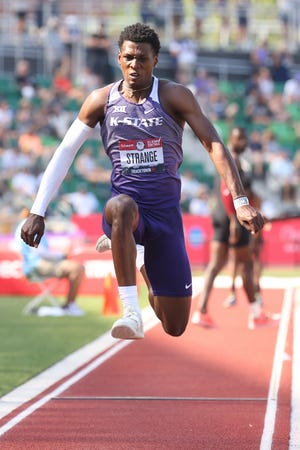 Jah Strange competes in the triple jump final during U.S. Olympic Track & Field Team Trials in Eugene, Oregon on Monday. Strange, a Xavier Prep grad who now jumps for Kansas State, finished 11th in the meet.