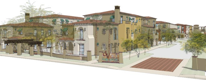 A rendering showing the future Coachella Valley Apartments, set to begin construction in December 2021.
