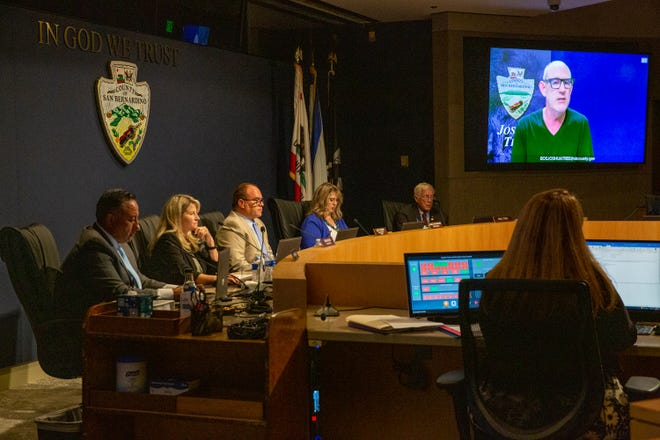San Bernardino Board of Supervisors listen to public comment regarding short term rentals during a regular meeting in San Bernardino, Calif., on June 22, 2021.
