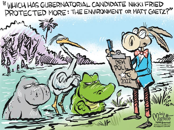Marlette cartoon: Florida environmentalists have doubts about Nikki Fried.
