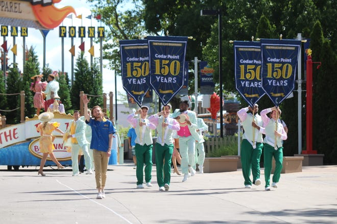 """The """"Celebrate 150 Spectacular,"""" which runs nightly through Aug. 15 at Cedar Point, includes a full parade through the midway featuring exclusive floats incorporating the park's history."""