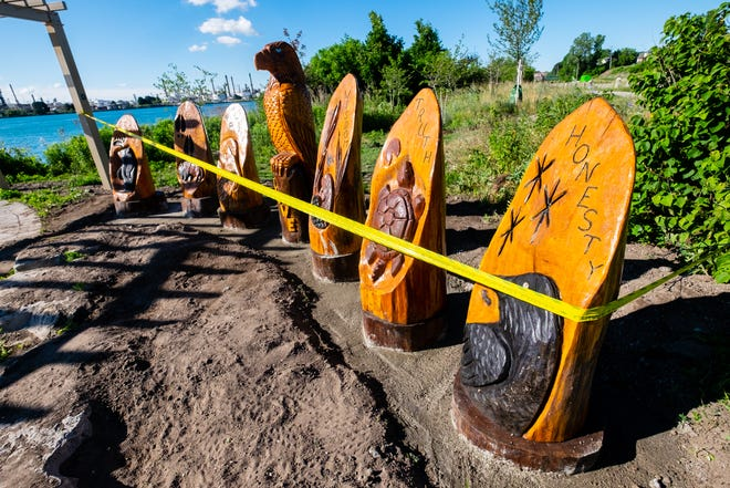 """A new sculpture titled """"Seven Grandfather Teachings"""" was installed along the Blue Water River Walk in Port Huron."""