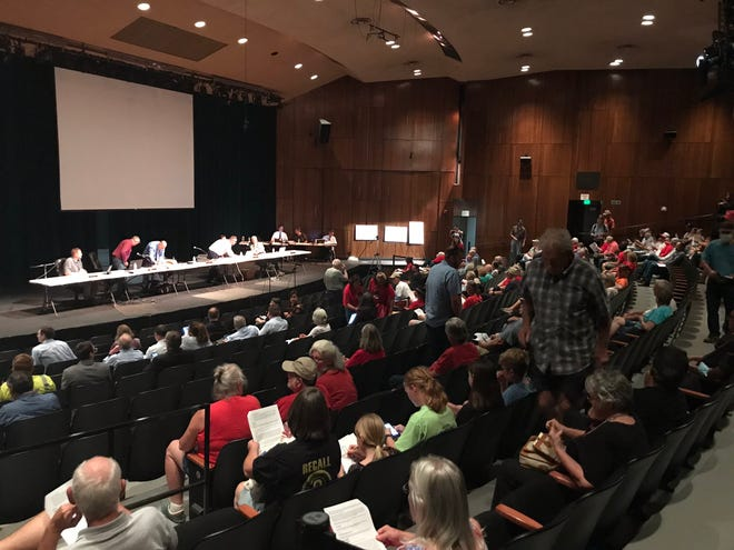 The theater at Shasta College began to fill up before the Shasta County Planning Commission public hearing on Fountain Wind project got started on Tuesday, June 22, 2021.