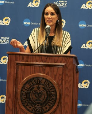 First-year Angelo State University head women's basketball coach Alesha Ellis talked about her high expectations for the Belles during a press conference at the VIP Room in the Junell Center on Monday, June 21, 2021.