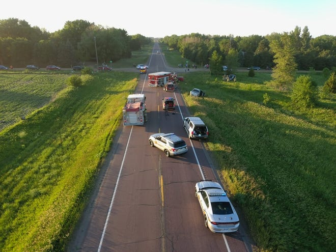Drone footage from a four vehicle accident in Lincoln County on Monday.