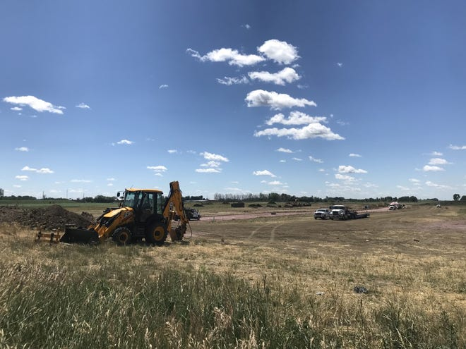 Construction near the intersection of 57th Street and Veterans Parkway in southeastern Sioux Falls.