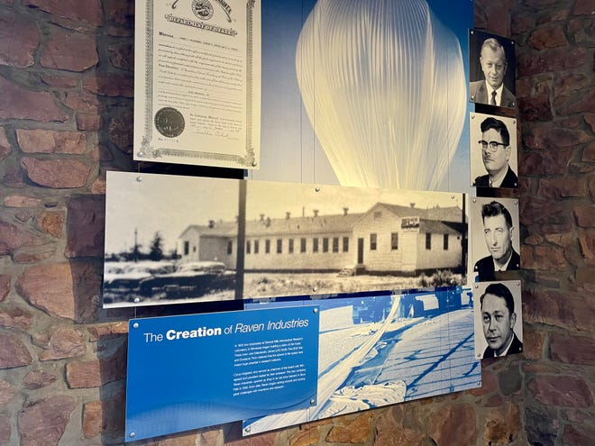 Wall art commemorating Raven Industries' founders at headquarters in downtown Sioux Falls. June 22, 2021.