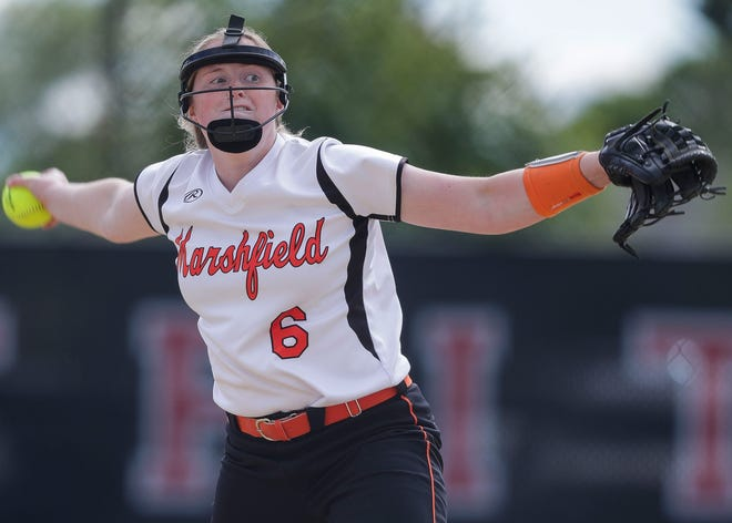 Marshfield High School's Courtney Donahue (6) pitches against SPASH during a WIAA Division 1 sectional semifinal on Monday, June 21, 2021, at Woyak Park in Stevens Point.