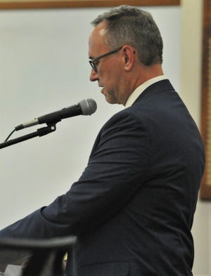 Wichita Falls ISD Chief Financial Officer Tim Sherrod briefs trustees during a school board meeting June 21, 2021, at the Education Center.
