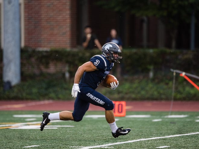 Rosecrans graduate Travis Johnston returns a kickoff for Case Western Reserve during the 2019 season.  Johnston has received three top academic awards in the last month since earning his degree in business administration.