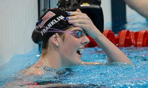 Another youngster at seventeen, Missy Franklin reacts after winning the women's 100 meter backstroke finals during the London 2012 Olympic Games at Aquatics Centre. Franklin would win four gold and a bronze during the games.