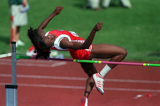 Jackie Joyner-Kersee performs the high jump during the Heptathlon in the 1988 Olympics in Seoul, South Korea on Sept. 3, 1988. One of the greatest athletes of all time, Joyner-Kersee shattered the world record for the Heptathlon during the five discipline event with a score of 7,291 which stood until 2008. She won a total of three gold, one silver and two bronze in her four Olympics.