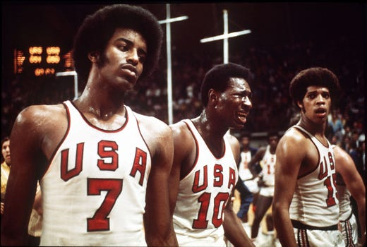 The US basketball team shows their frustration to the decision of the officials giving the gold medal to the Soviet Union in at the Olympic games in Munich, West Germany on Sept. 10, 1972. With USA leading 50-49, officials reset the clock giving Soviet another chance for a basket. They made it making the score 51-50 in favor of Soviet Union. US protested the decision.