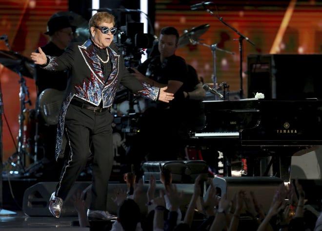 "Elton John performs ""Tiny Dancer"" at the 2018 Grammy Awards at Madison Square Garden in New York."