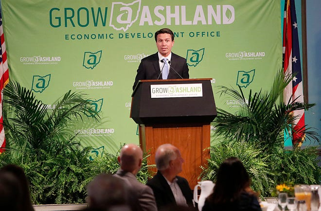 Mayor Matt Miller speaks at the Economic Development annual meeting Wednesday, June 23, 2021 at Ashland Univerisity's Myers Convocation Center. TOM E. PUSKAR/TIMES-GAZETTE.COM