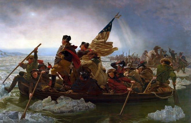 Iconic painting of George Washington crossing the Delaware River from Bucks County in a surprise attack on Hessian soldiers in Trenton at Christmas 1776. (Courtesy CarlLaVO; I own rights to this particular image)