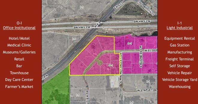 Case No. 21-03-REZ: Public hearing for the consideration of a request to rezone lots 6, 7, 8, and 9 of block 1 and lots 4, 5, 6, 7,  8, and 9 of block 3 in the El Dorado Business Park addition from O-I Office Institutional District to i-1 Light Industrial Residential District.