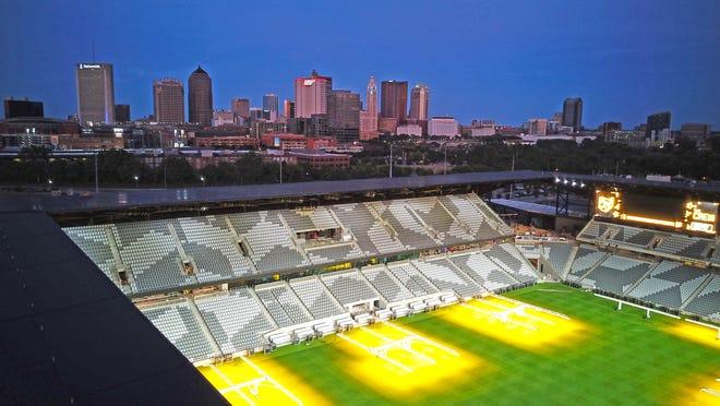 The downtown Columbus Crew Lower.com stadium under construction on Thursday, June 17, 2021.